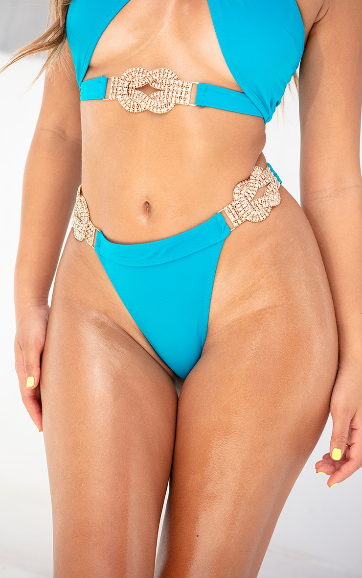 Teal Diamante Jewel Bikini Bottom 1