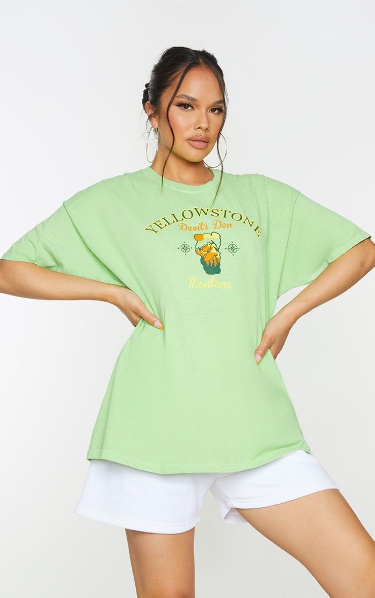 Green Yellowstone Print Washed T Shirt 1