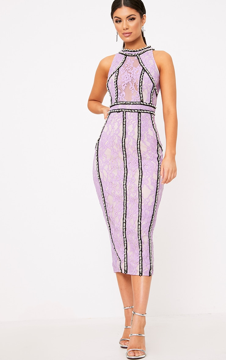 Francessia Lilac Premium Embellished Midi Dress 6