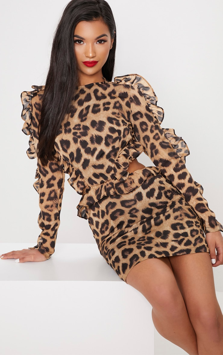 LEOPARD FRILL DETAIL BACKLESS BODYCON DRESS