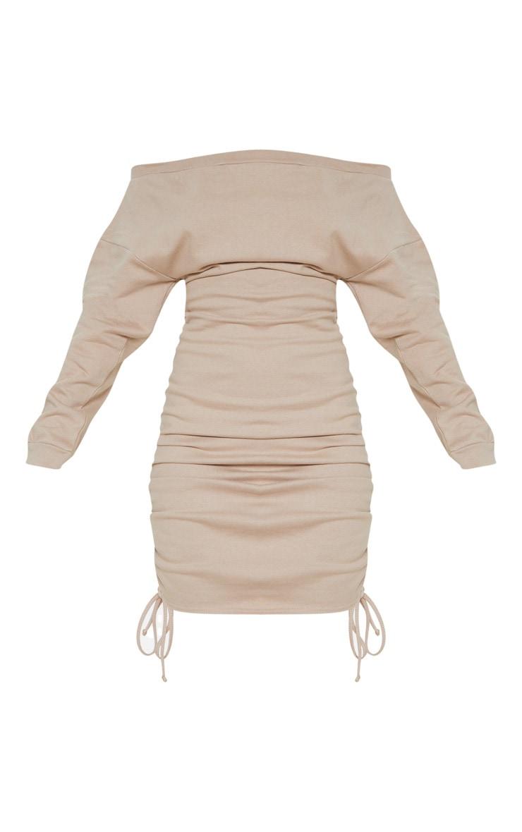 Stone Bardot Ruched Side Sweat Jumper Dress 3