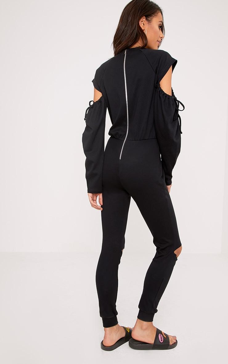 Lindsey Black Sweater Cold Shoulder Ripped Knee Jumpsuit 2