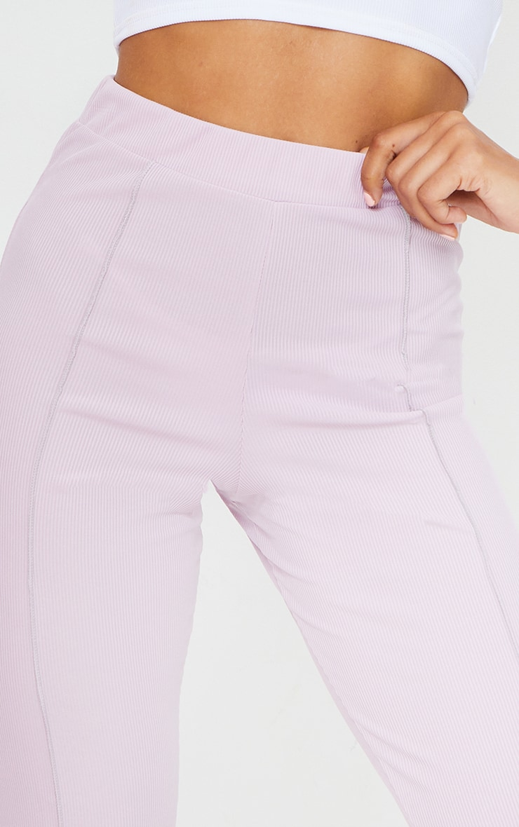 Lilac Contrast Seam Ribbed Flare Pants 4