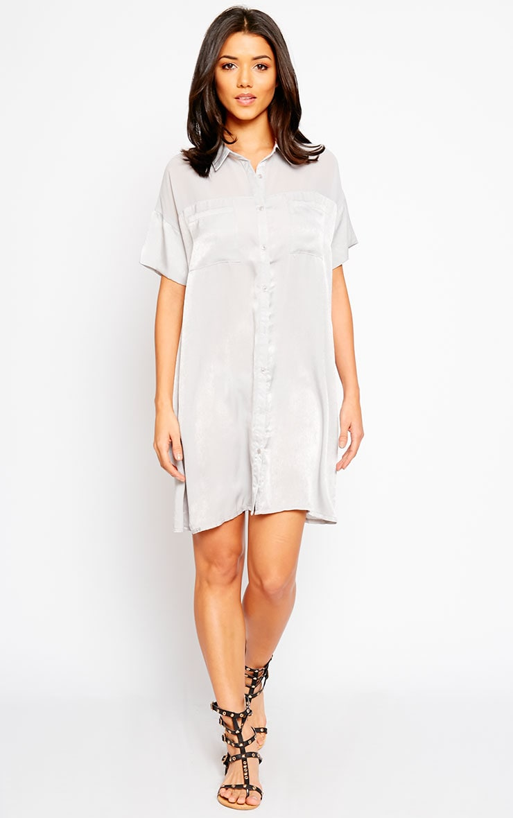 Dina Grey Silky Panel Shirt Dress 4