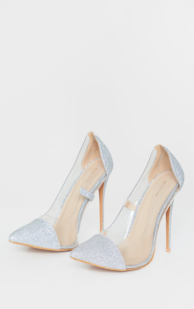 Silver Glitter Clear Court Shoes 3