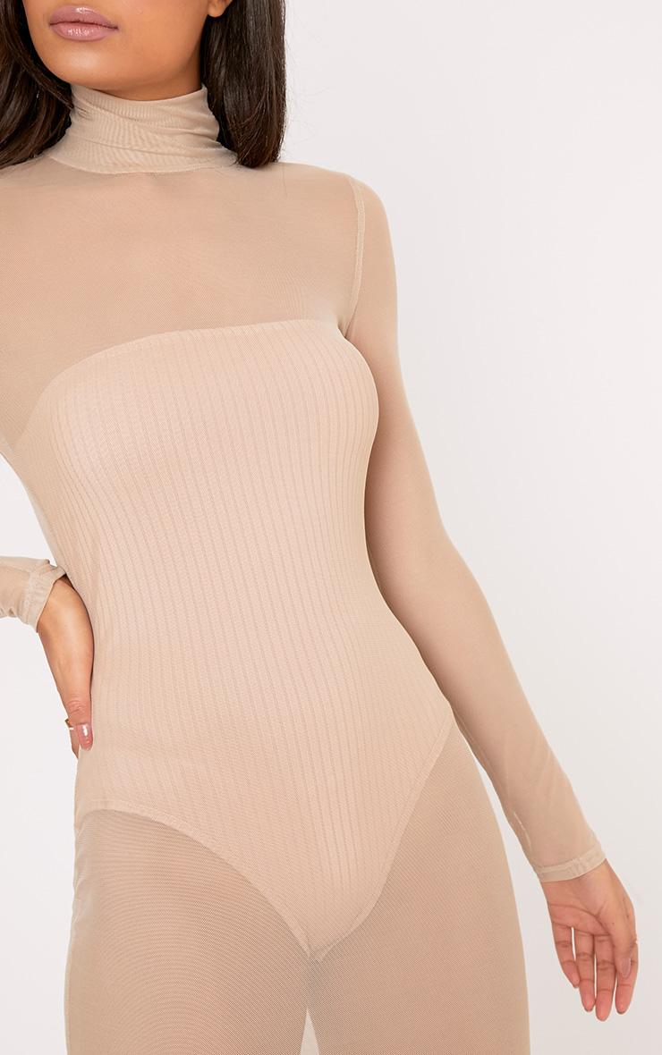 Ayda Nude High Neck Mesh Midi Dress 4