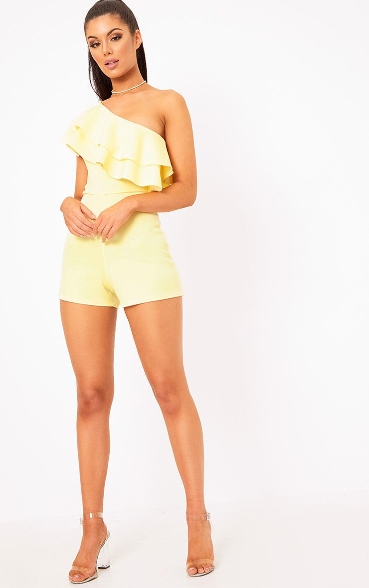 Yellow One Shoulder Frill Detail Playsuit 4