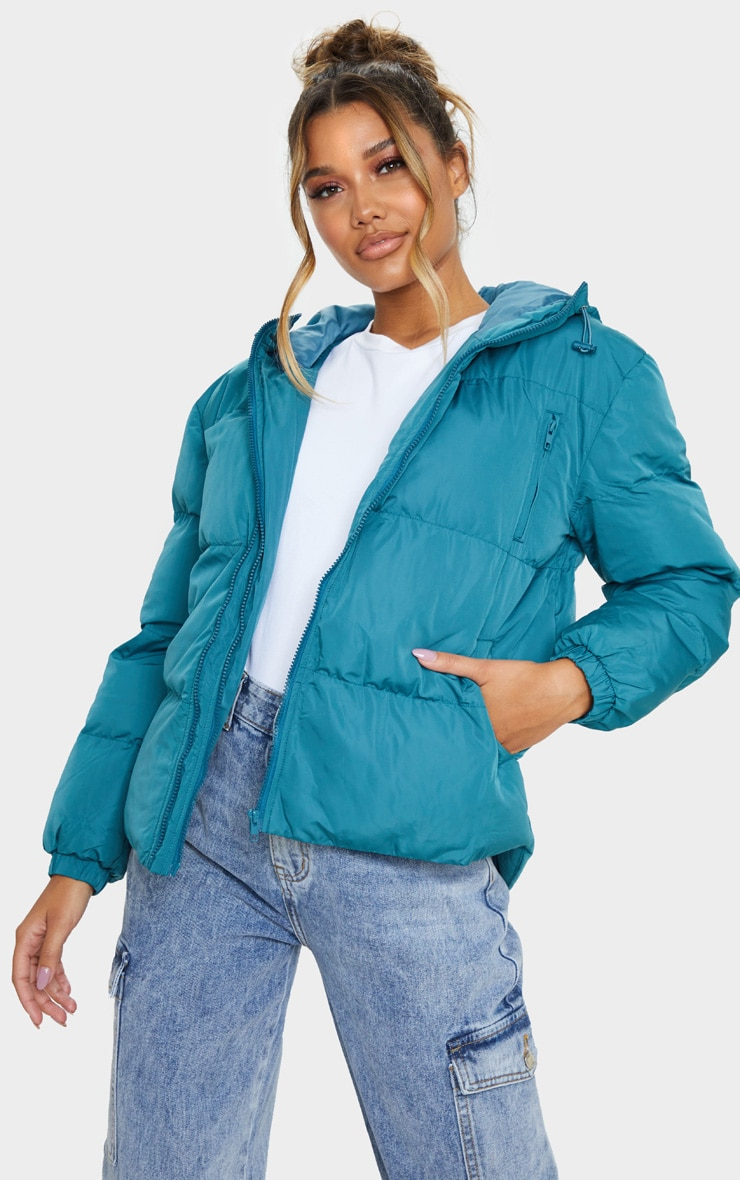 Mineral Blue Puffer Contrast Hooded Jacket 1