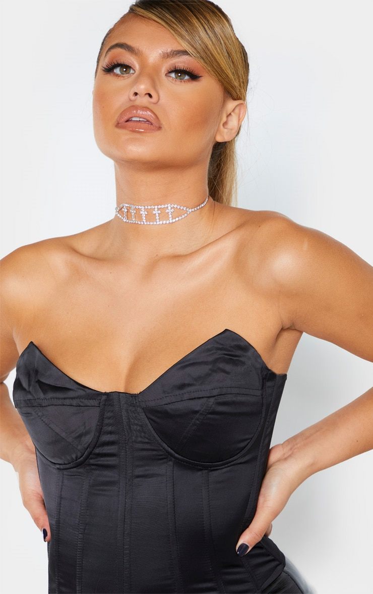 Black Satin Structured Bust Detail Corset Top 5