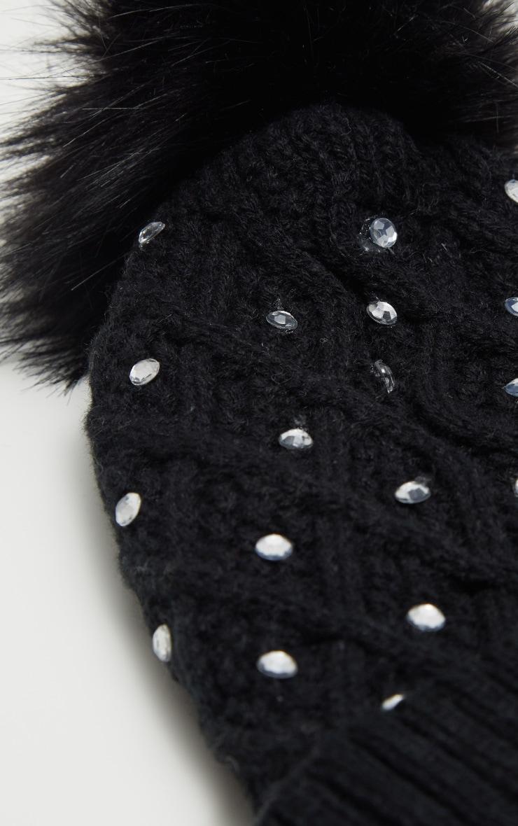 Black Diamante Faux Fur Pom Pom Knitted Hat 3