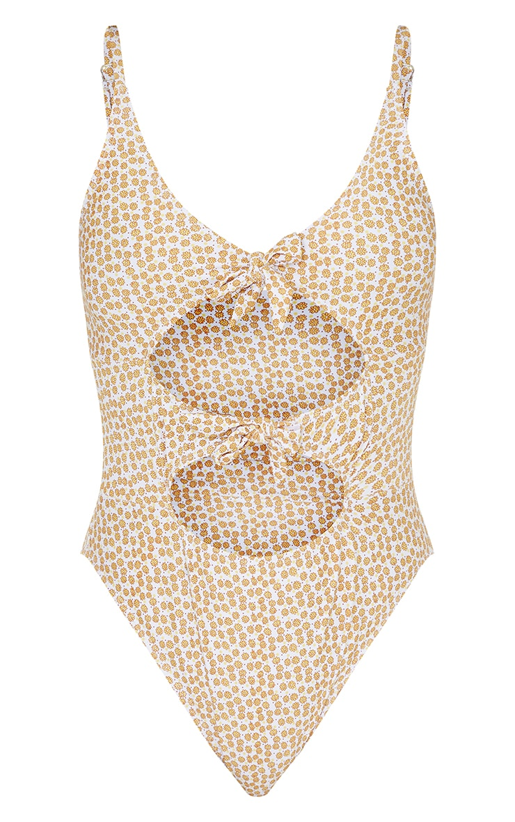 Yellow Floral Cut Out Bow Tie Swimsuit 5