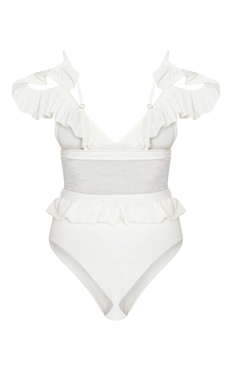 White Polka Dot Middle Frill Swimsuit 4