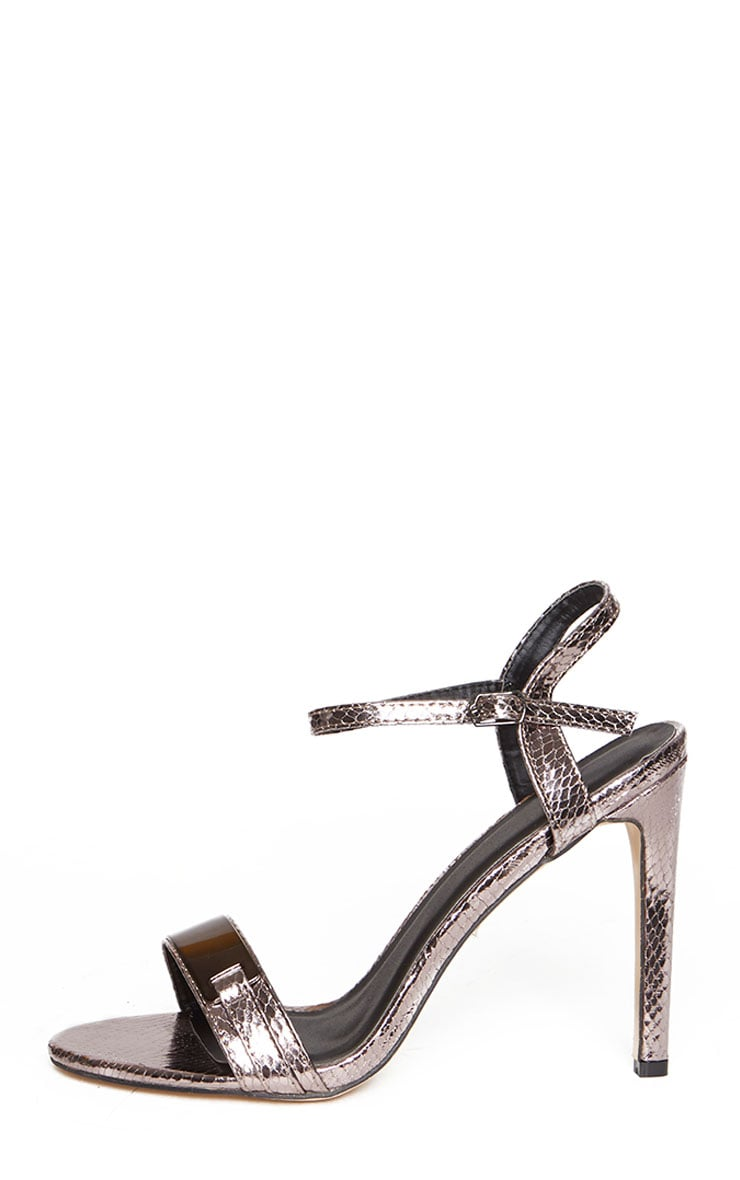 Jamie-Lee Pewter Bar Detail One Strap Sandals 7