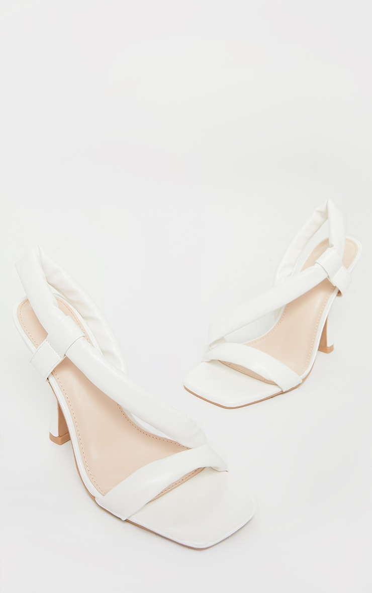 White Square Toe Low Flare Heel Sandals 3