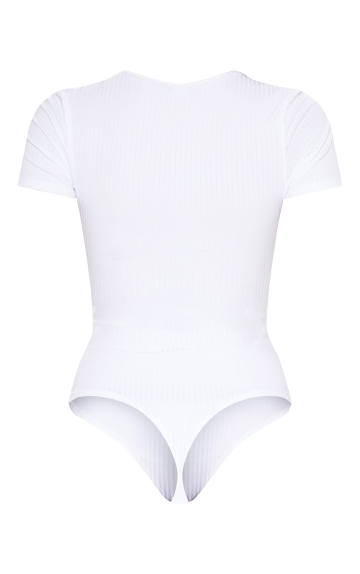 White Rib Short Sleeve Thong Bodysuit 4