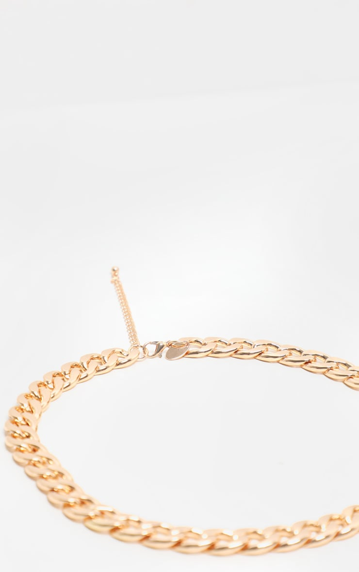 Gold Chunky Short Flat Link Chain Necklace 4