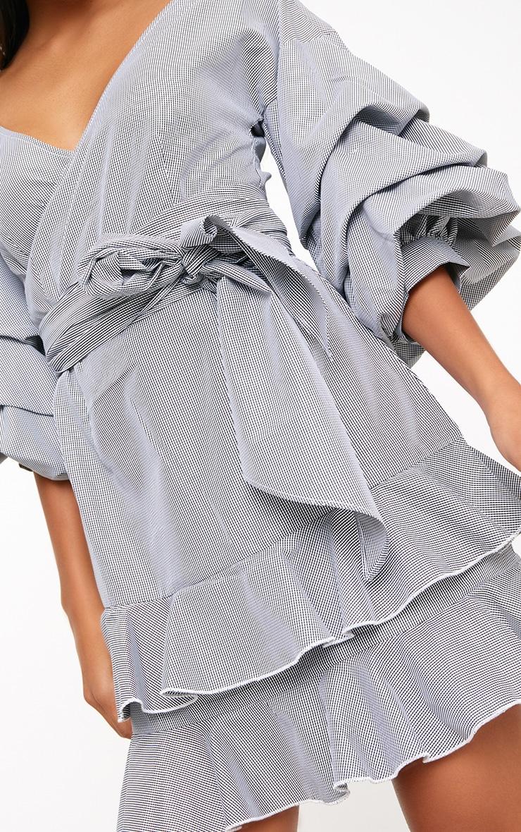 Black Gingham Frill Sleeve Detail Mini Dress  5