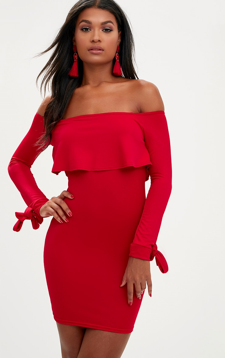 Red Bardot Overlay Tie Cuff Bodycon Dress 1