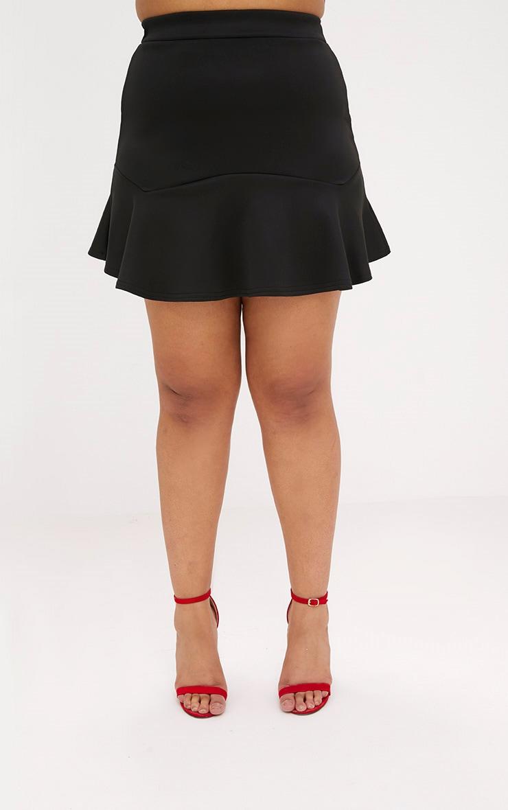 Plus Black Flippy Hem Skirt 2