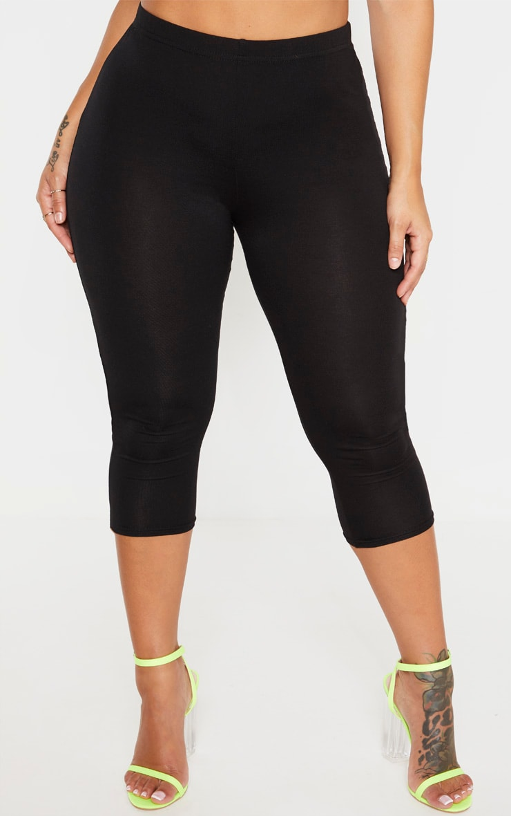 Shape Black Jersey Cropped Leggings 2