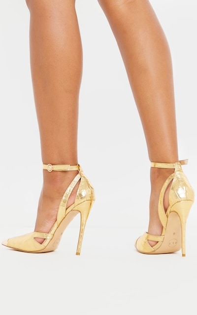 Gold Cut Out Heel Metal Toe Court Shoe