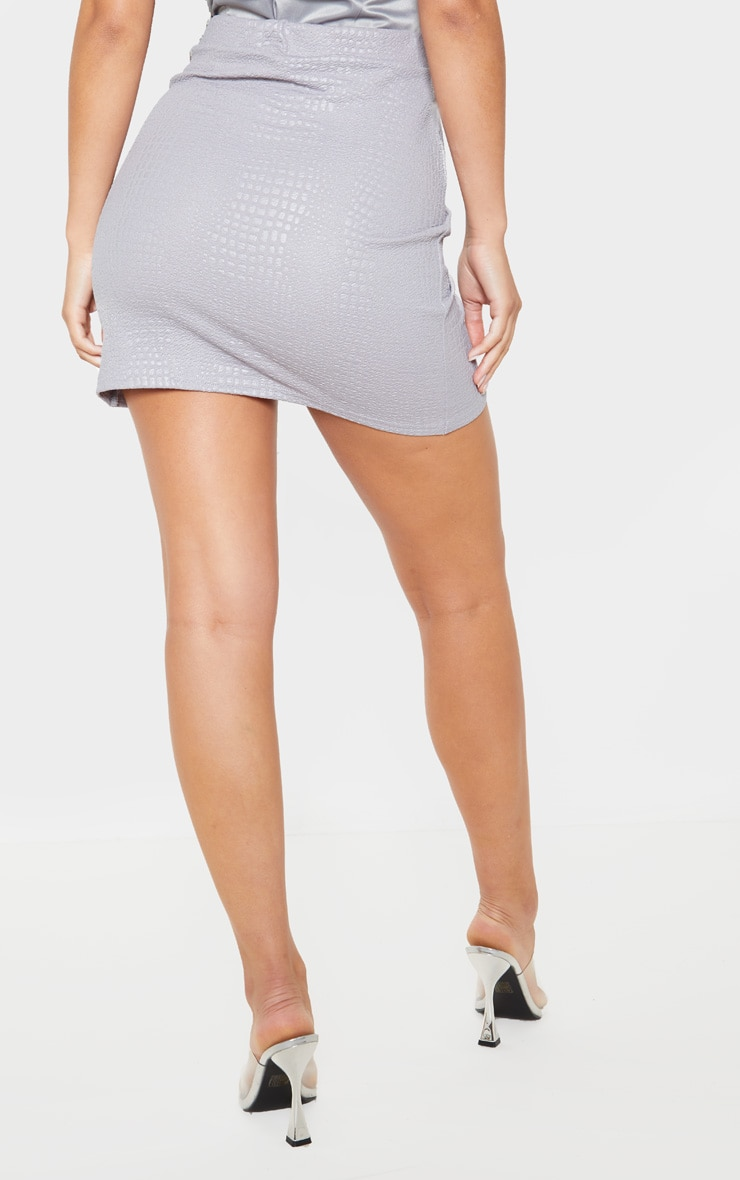 Grey Textured Croc Ruched Detail Mini Skirt 4