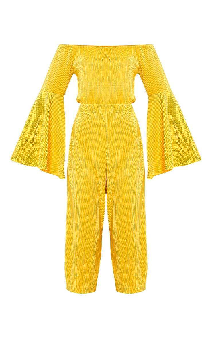 Delilah Mustard Bardot Flare Sleeve Jumpsuit  3