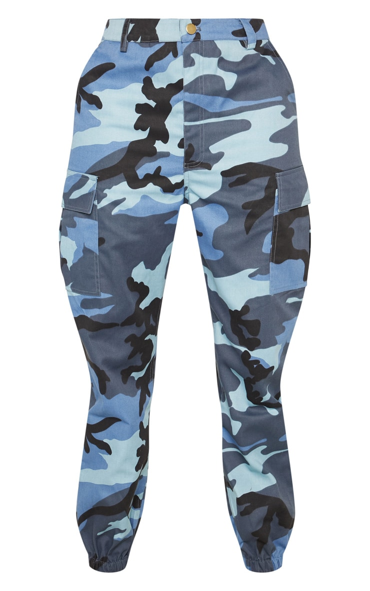Blue Camo Pocket Detail Cargo Trousers 3