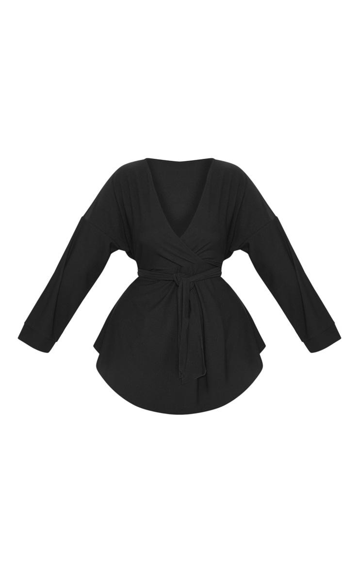 Plus Black Plunge Tie Waist Blouse 3