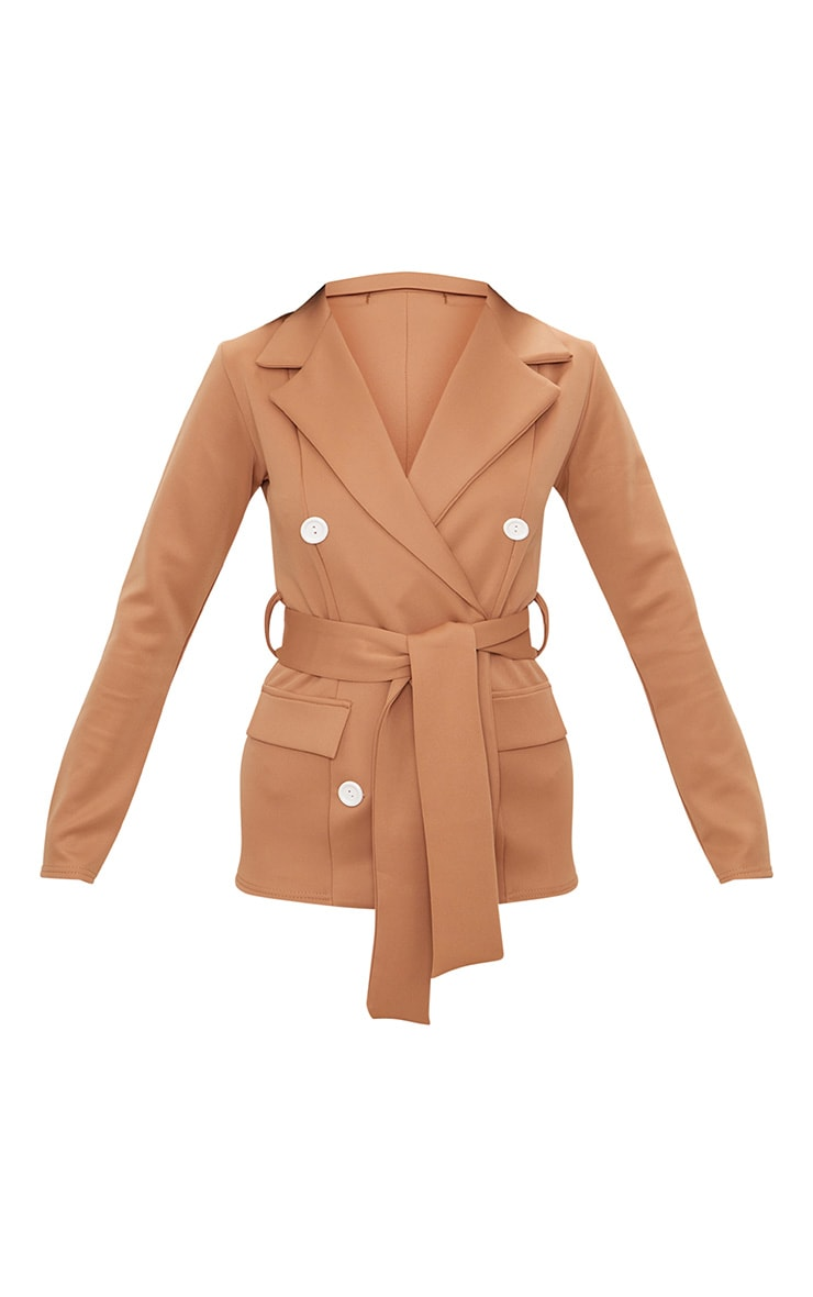 Camel Double Breasted Belted Blazer 3
