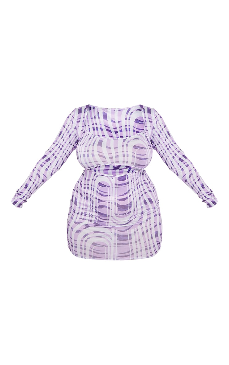 Plus Purple Geo Swirl Print Cut Out Bodycon Dress 5