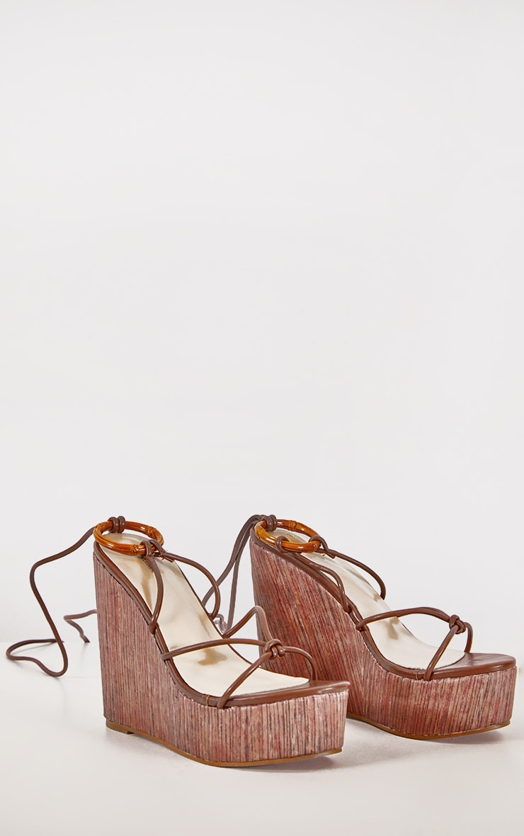Brown Lace Up Wood Effect Wedge 2