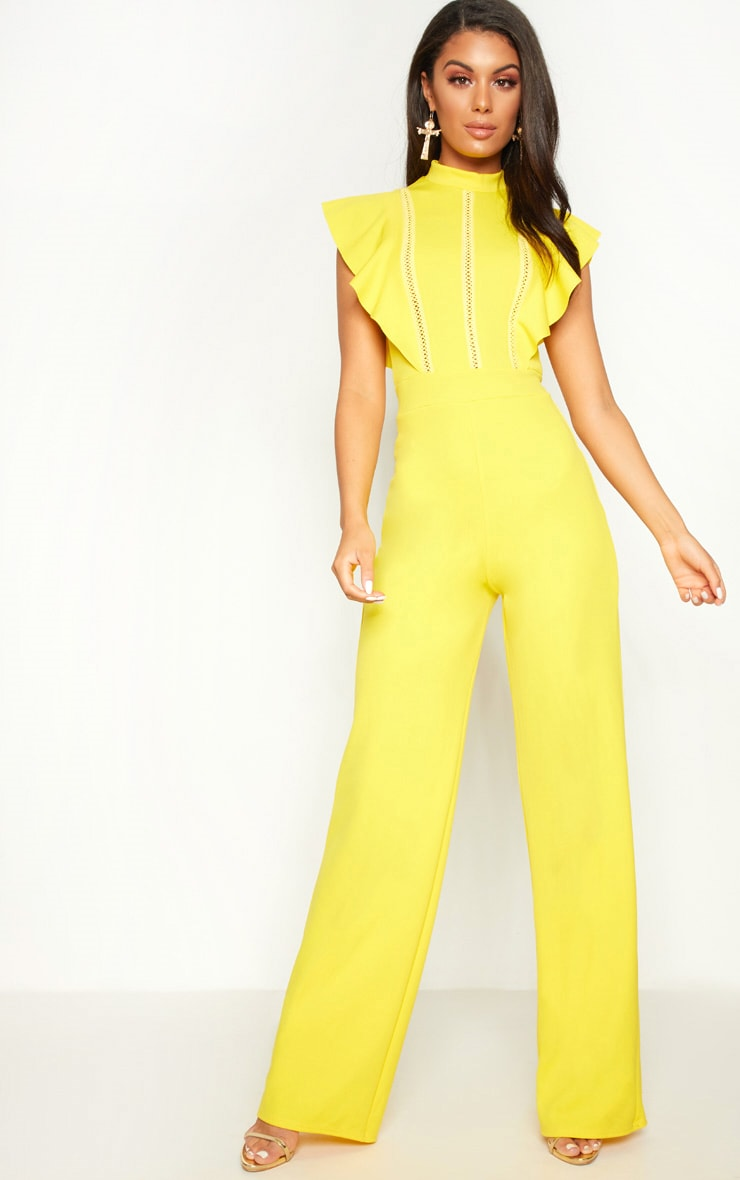Yellow Frill Sleeve Lace Trim Jumpsuit 1