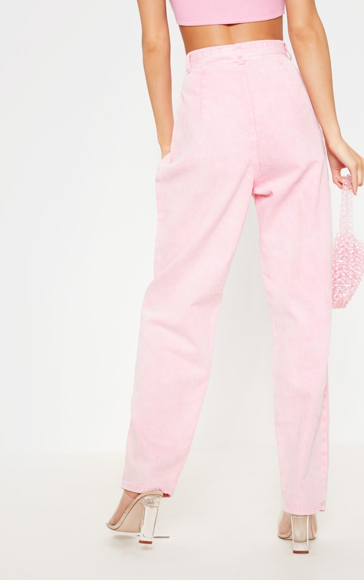 Acid Pink Belted Balloon Mom Jean 4