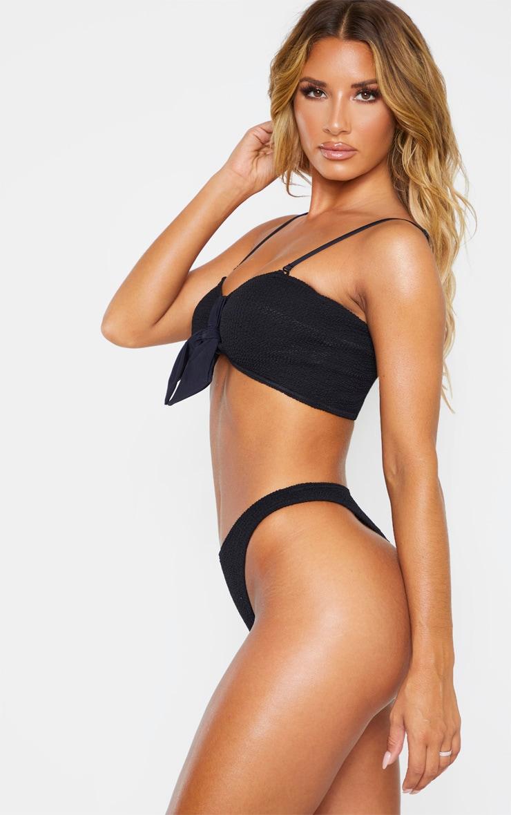 Black Crinkle Thong Bikini Bottom 2
