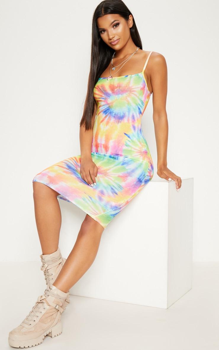 Multi Tie Dye Strappy Midi Dress 4