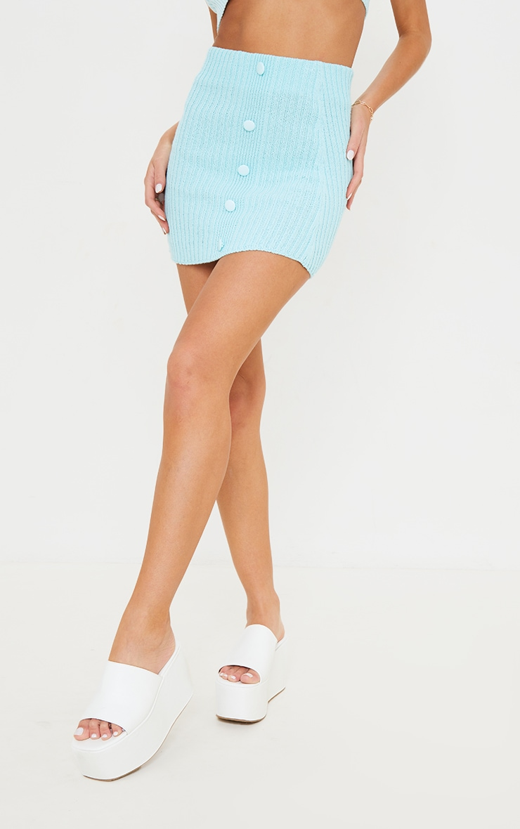 Mint Ribbed Knitted Button Skirt 2