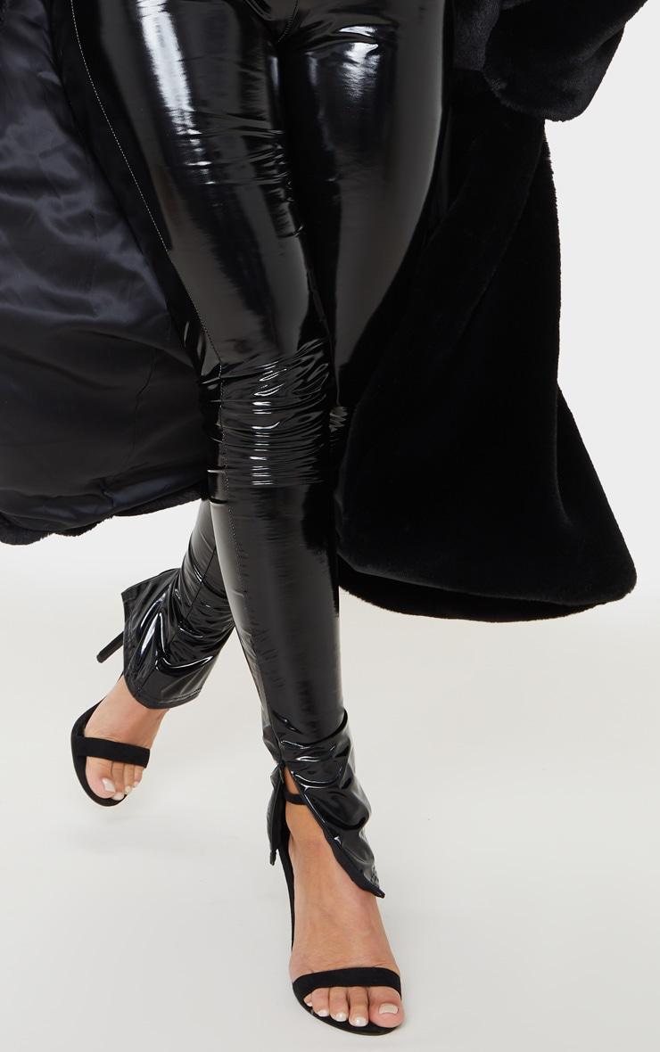 Black Vinyl Split Hem Skinny Trousers 6