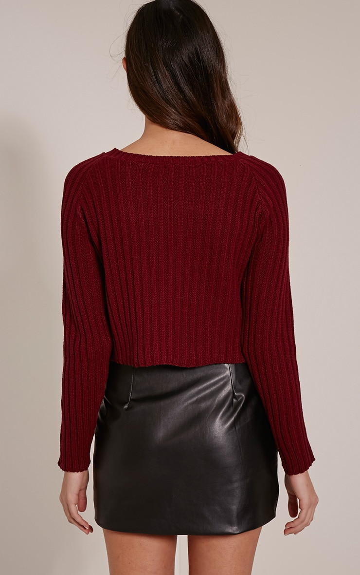 Laurah Burgundy Ribbed Crop Jumper 2
