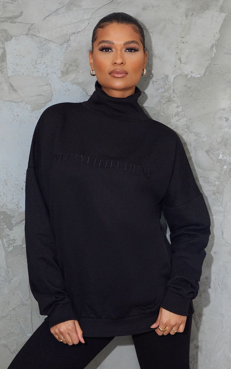 PRETTYLITTLETHING Black Embroidered High Neck Oversized Sweatshirt 1