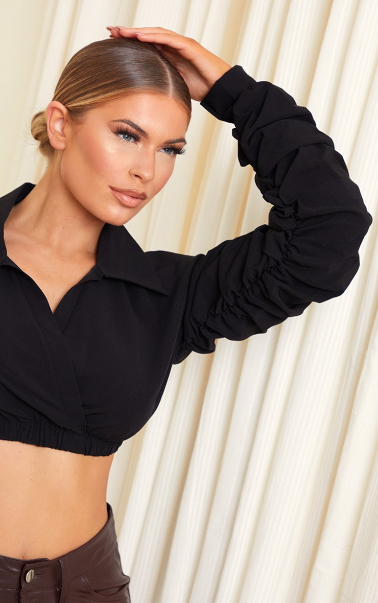 Black Extreme Ruched Long Sleeve Cropped Shirt 4