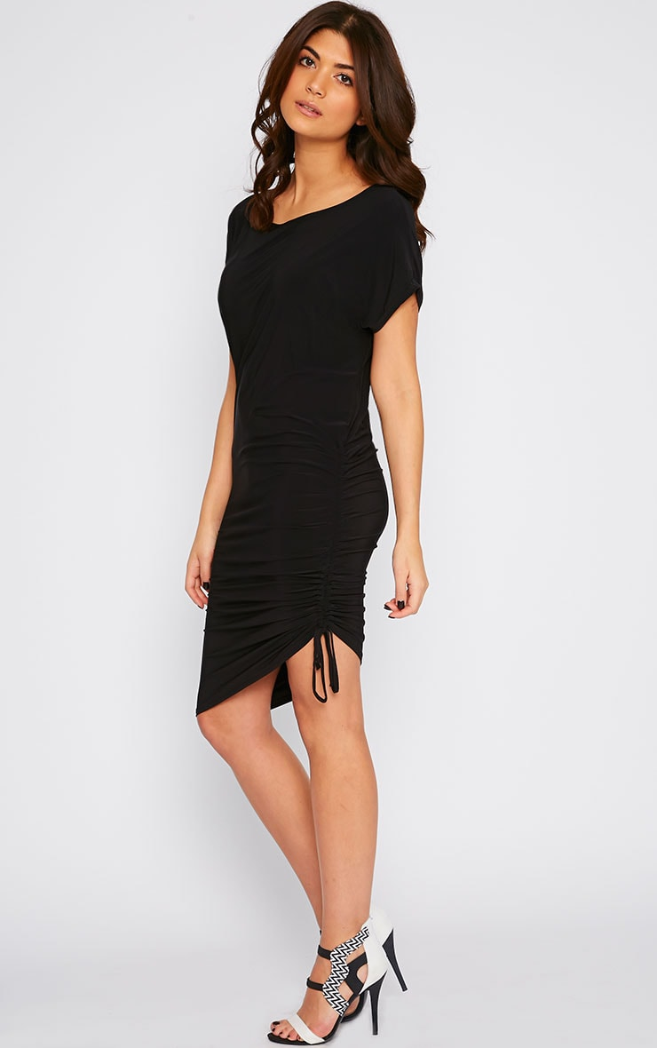 Joette Black Slinky Gathered Dress 1