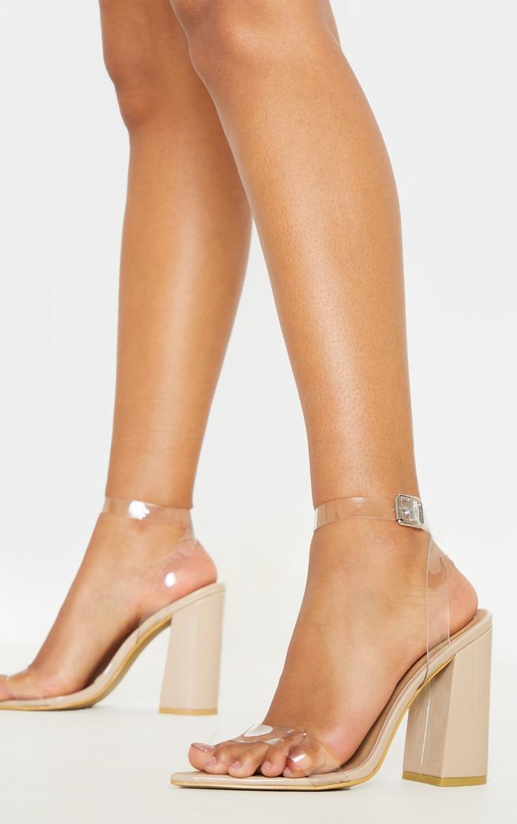Nude Clear Strap Block Heel Point Toe Sandal 1