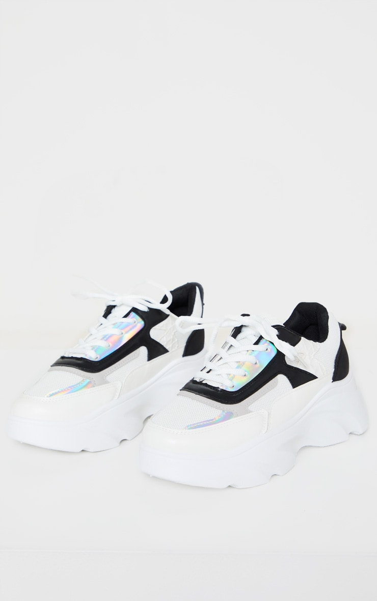White Holographic Panel Lace Up Chunky Sneakers 3