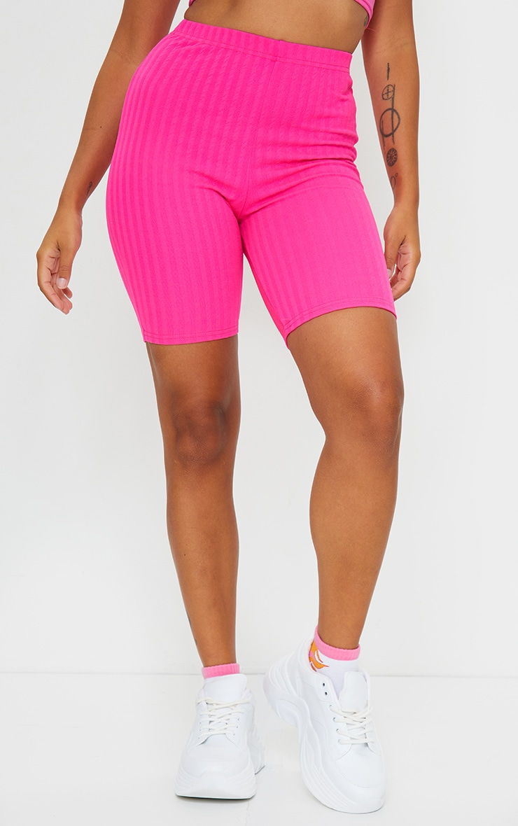 Petite Hot Pink Crinkle Cycle Shorts 2