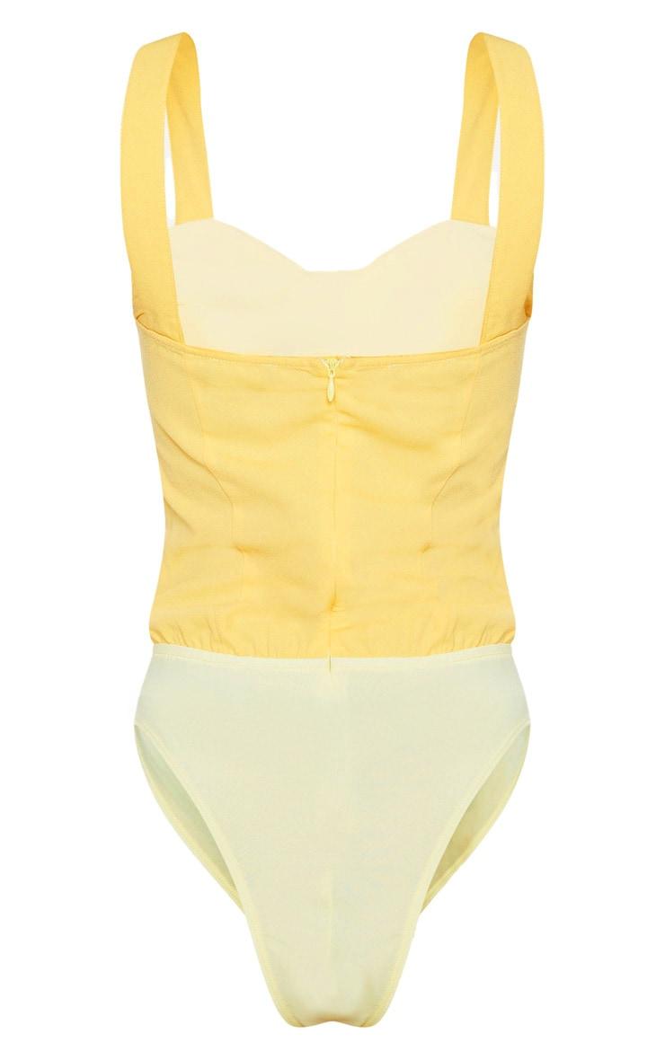 Lemon Woven Pleat Detail Tie Front Sleeveless Bodysuit 4