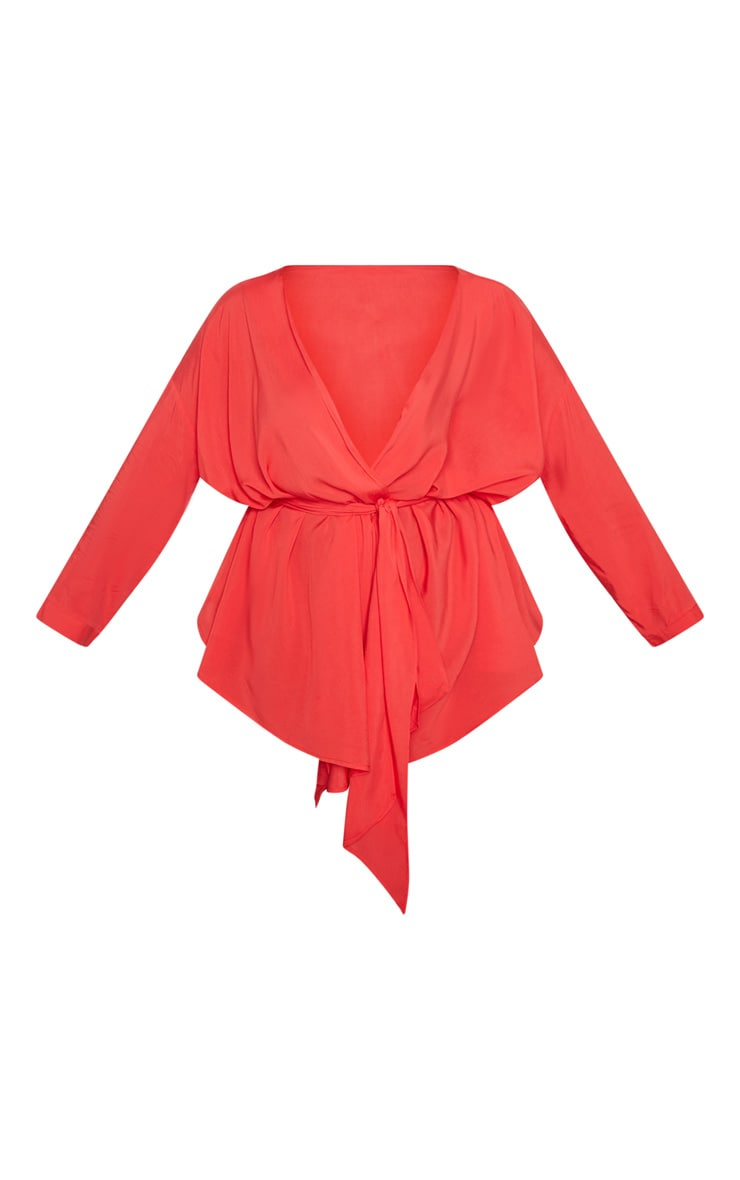 Plus Red Woven Tie Waist Blouse 3