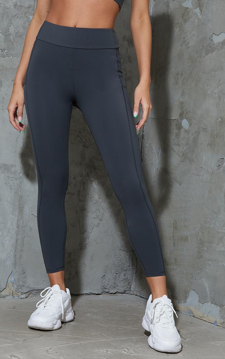 Charcoal Super High Waist Pocket Detail Gym Leggings 2