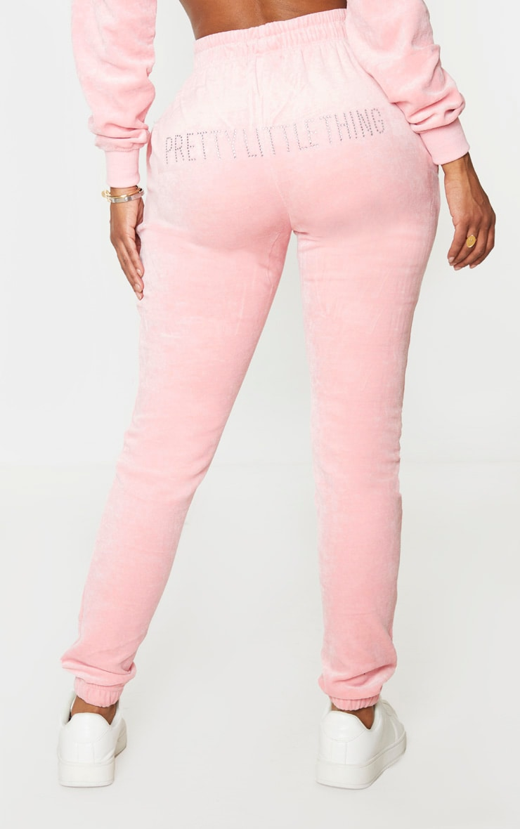 PRETTYLITTLETHING Shape Dusty Pink Velour Skinny Jogger 3