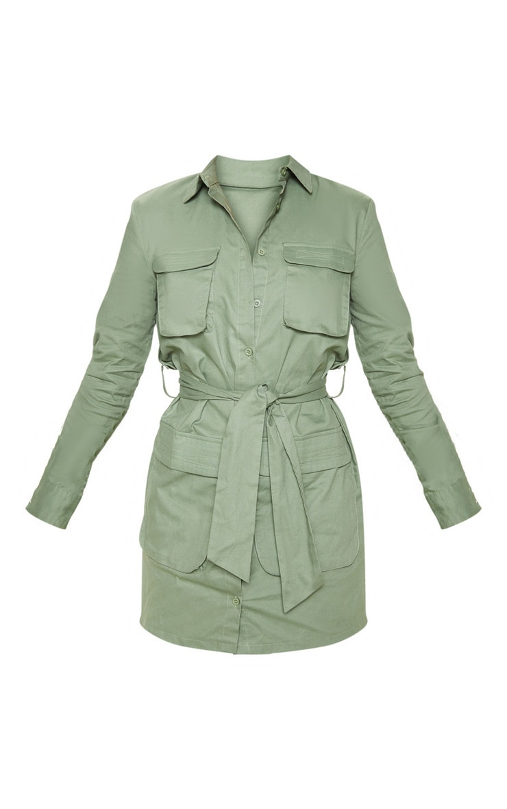 Petite Olive Khaki Utility Tie Waist Shirt Dress 3